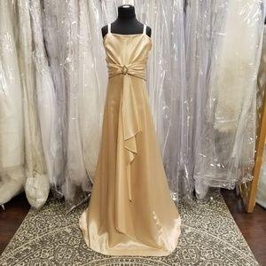 Gold Satin Long Formal Girl's Dress